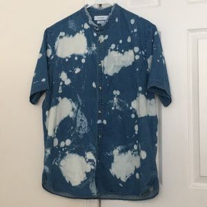 Denim Bleach Splat Button Down Shirt